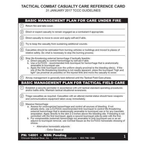 Tactical Combat Casualty Care Reference Card