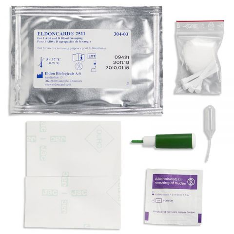 Craig Medical Distribution EldonCard Blood Typing Kit