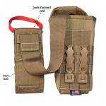 Chinook Medical Gear Individual First Aid Kit pouch and insert coyote brown showing leash attachement