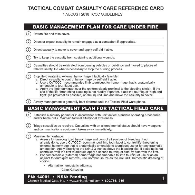 Chinook - TCCC Card Tactical Combat Casualty Care Reference Card