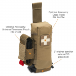 Chinook Medical Gear Individual First Aid Kit Pouch Kit coyote brown with tourniquet holder and cross patch