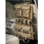 Chinook Medical Gear Medical Panel insert kit and bag coyote brown hanging on back of vehicle seat